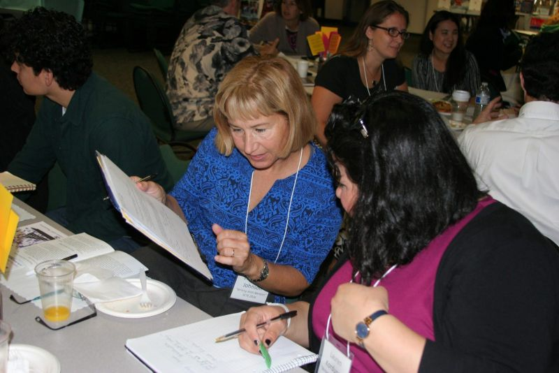 Dr. Stephanie Johnson, professor at CSULB, working with one of her student teachers, Lauren Korduner.